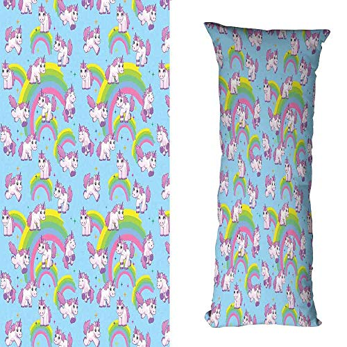 DuckBaby Rectangular Pillowcase Unicorn Home and Kids Decor Repeating Pattern Mystical Ancient Beast Purity Grace Symbol Graphic Without core W16 xL47 ()