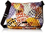 Vera Bradley Laptop Messenger Bag, Painted Feathers, One Size