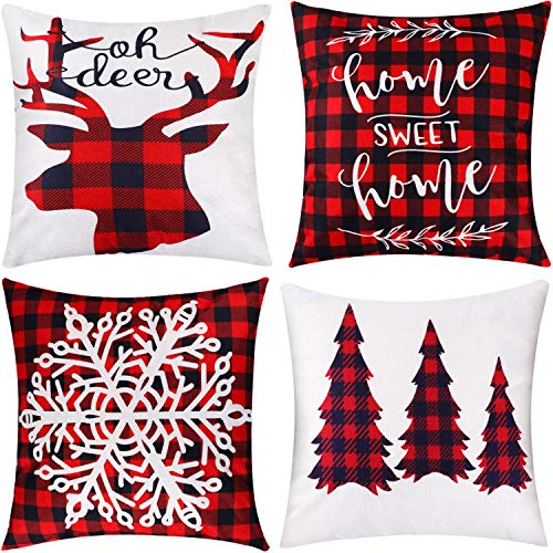 Jetec 4 Pieces Pillow Case Throw Cushion Cover