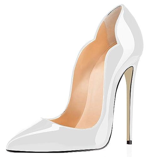 elashe- Scarpe Decolte Donna - 12CM Scarpe col Tacco Pointed Toe -  Classiche Scarpe col 58976286b29