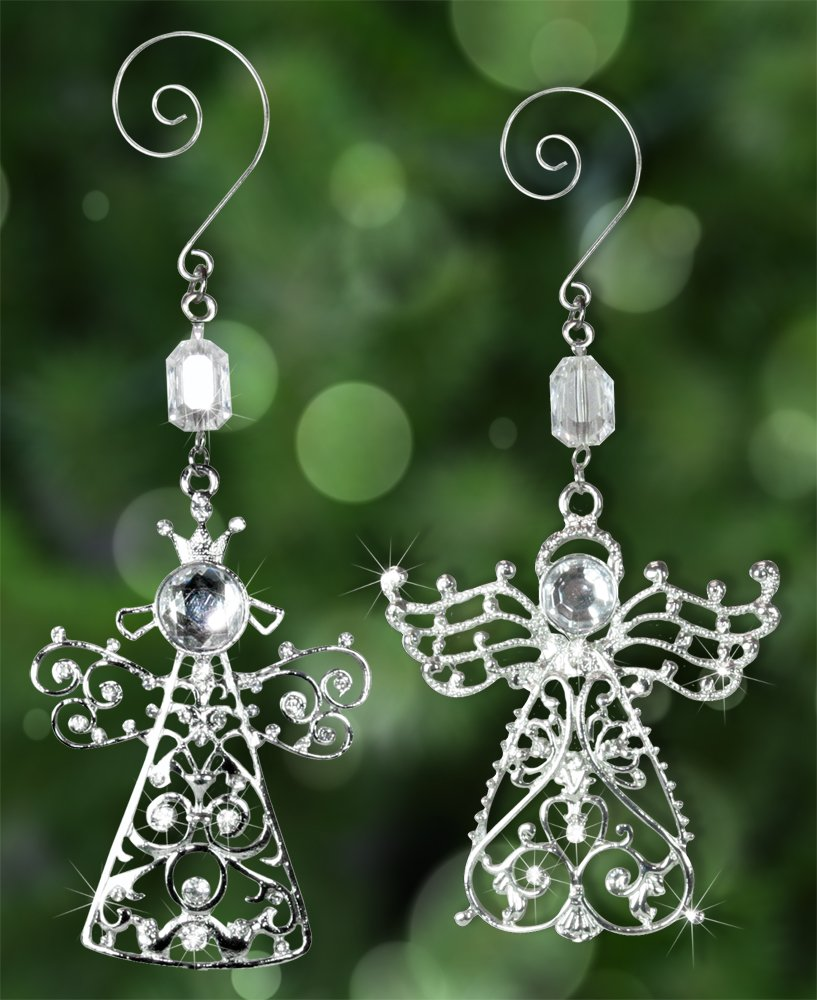 Merveilleux Amazon.com: Angel Decorations   Set Of 2 Crystal And Metal Angel Decorations    Sparkling Crystals And Filigree   Comes In A Gift Box   Angel Wings: Home  U0026 ...