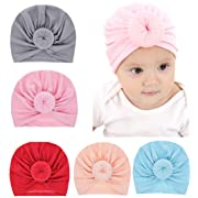Baby Girl Soft Cotton Beanie Infant Floral Knot Cap Hospital Hat Kid Headwarp Turban (5pack knot hat)
