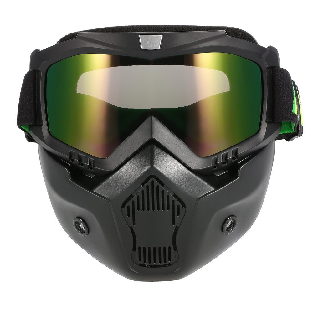 Docooler Mortorcycle Mask Detachable Goggles and Mouth Filter for Open Face Helmet Motocross Ski Snowboard