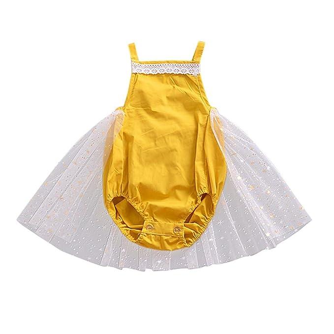 0254e2ec6c1 Vincent July Infant Baby Girls Clothes Gauze Straps Yellow Romper Lace  Playsuits Jumpsuit (3M(0