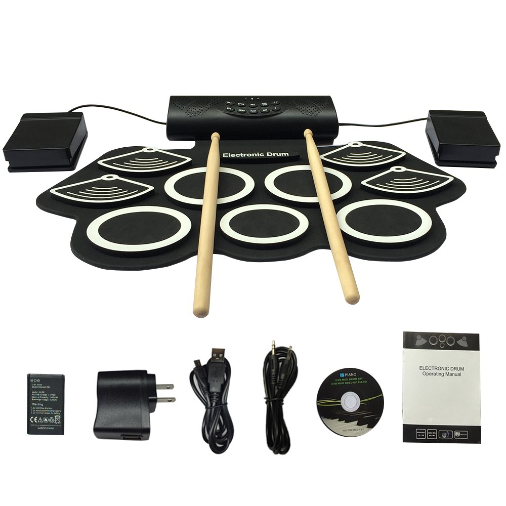 Portable Electronic Drum Set Roll-Up Drum Kit,9 Electric Drum Pads Built in Rechargeable Battery double stereo Speakers , Foot Pedals and Drumsticks for beginners and Holiday gift JIAFU