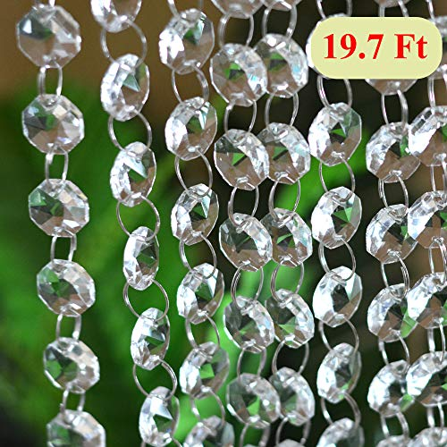 19.7Ft Crystal Chandelier Beads Clear Glass Crystal Beads Lamp Chain Garland for Wedding Home and DIY Craft Jewelry (Faceted Bead Garland)