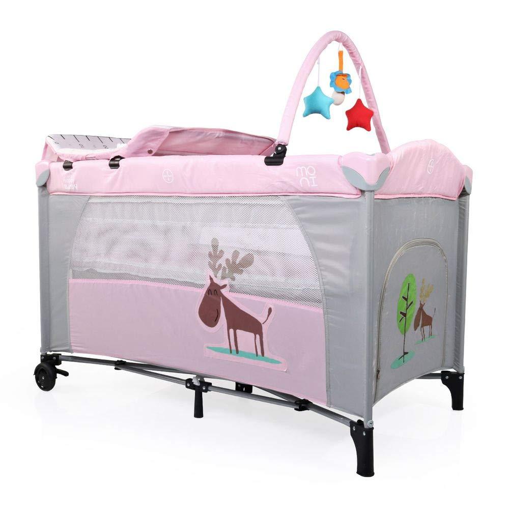 Cuna de viaje cambiador parque infantil Happy Baby mosquitero rollos arco de juego color:beige
