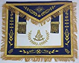 Masonic Apron-Past Master Apron Royal Blue Gold Embroidered with Fringe