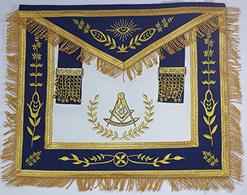 Past Master Apron Navy Blue Gold Eembroidery with (Masonic Past Master Apron)