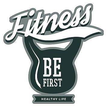 Pegatina de pared Motivo de mancuernas con letras modernas Fitness be first healthy life motivo deportivo para pegar gimnasio estudio de fitness sala de ...