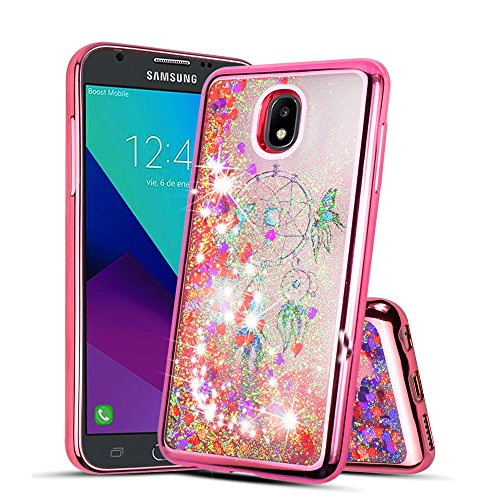 - For Samsung Galaxy J3 2018 (J337), J3 Eclipse 2, J3 Emerge 2018, J3 Prime 2 Glitter Liquid Quicksand Flowing Bling Clear Case (Rose Gold)