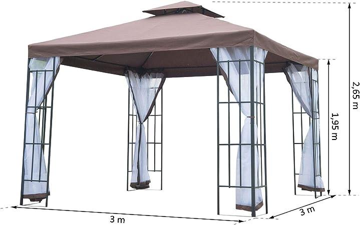 Outsunny – ® Carpa jardín Cenador Carpa Doble Techo 3 x 3 m ...