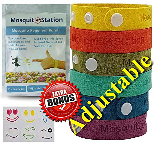 MCBInfinity Mosquito Repellent Bracelets Bonus 6 Colorful Repellent Patches, Natural Improved Adjustable Wristbands with Buttons, Deet Free Bands, Pest Control Bug Protection for Kids & Adults