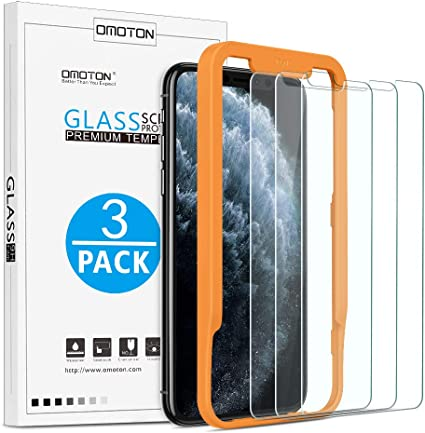 OMOTON Protector Pantalla iPhone 11 Pro MAX/iPhone XS MAX, 2.5D Cristal Templado iPhone 11 Pro MAX Protector de Pantalla iPhone XS MAX, Anti-Burbujas, 6.5 Pulgadas, con Marco Guía, 3 Piezas: Amazon.es: Electrónica