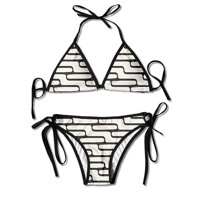 Women's Push Up Padding Bikini Summer Swimsuit Underwear Black and White  Stacking Stair Zigzag
