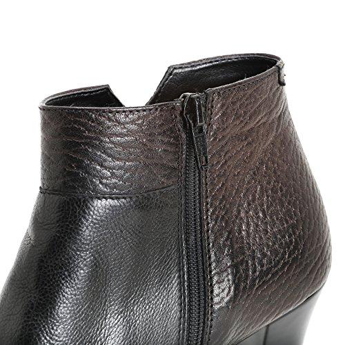 amp;Scarpe con Piel alargada Tacones Scarpe punta by altos de piel Negro con y cm Botines 9 ALESYA trabajada wEXBxgFqf