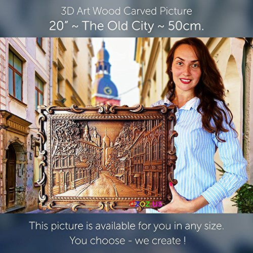 20'' The Old City 50cm Wood carving 3D painting icon orthodox art by Wood Carving Dzoz