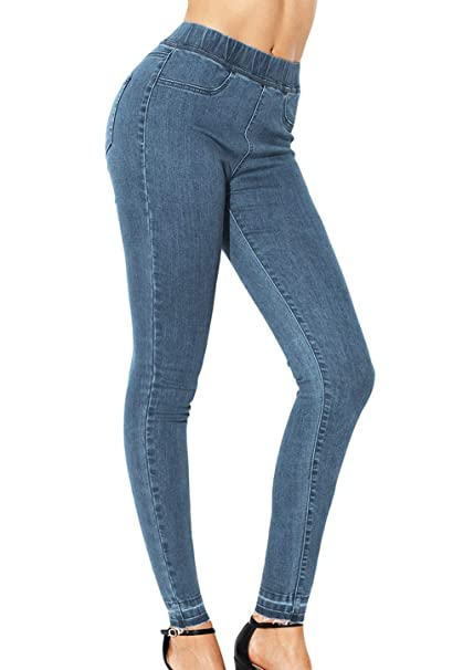 Pantalones Vaqueros De Las Mujeres Ocio Cintura Elástica ...