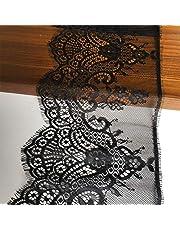 نسيج دانتيل أسود اللون مقاس 17.78 سم × 120 سم مع زخرفة من الدانتيل بنمط الزهور للخياطة، والتزيين، وتصميم الزهور والحرف اليدوية (640 أسود)