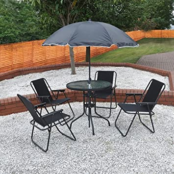4 Person Garden Furniture Patio Set with Table 4 Folding Chairs