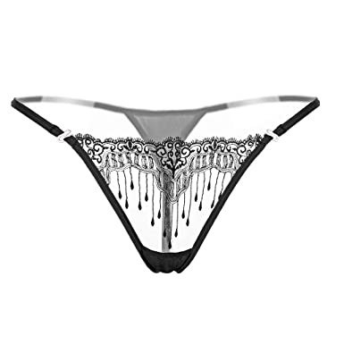 f144c08898a1 RUNSONE Sexy Triangle Bikini Swimsuits Embroidery Lace G-String Cheeky Hipster  Panties for Women (