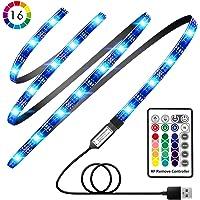 Avanz - Tira de luz LED para TV, 60 LED, retroiluminación de 2 m, 24 teclas RF inalámbricas, con 4 modos, 16 colores, impermeable, iluminación USB bies, cambio de color, kit de tira de color para TV, PC de sobremesa