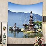 Grace Little Custom tapestry pura ulun danu bratan or pura beratan temple bali island indonesia pura ulun danu bratan is a