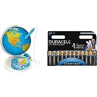 Clementoni - Globo interactivo, tipo Explora el mundo (55117) con Duracell Ultra Power - Pack DE 12 Pilas alcalinas AA