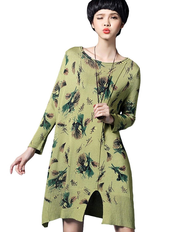 MatchLife Damen Irregulär Blumen Jerseykleider Schlitz Kleider