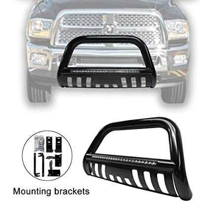 Amazon Com Tuokiy Black Led Bull Bar For 2009 2017 Dodge Ram 1500