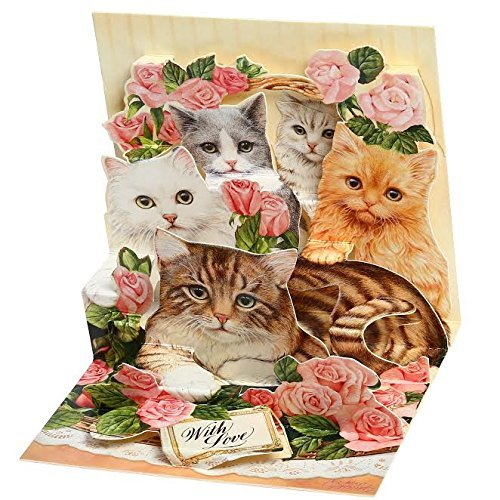 [3D Pop-Up Greeting Card Animal Themes w/ Mailing Envelope– Top Quality Pop Out 3D Greeting Card- Impressive, Vibrant Color Popup Card: The Most Amazing Gift (1 Pack Cats)] (Cat Valentine Greeting Cards)