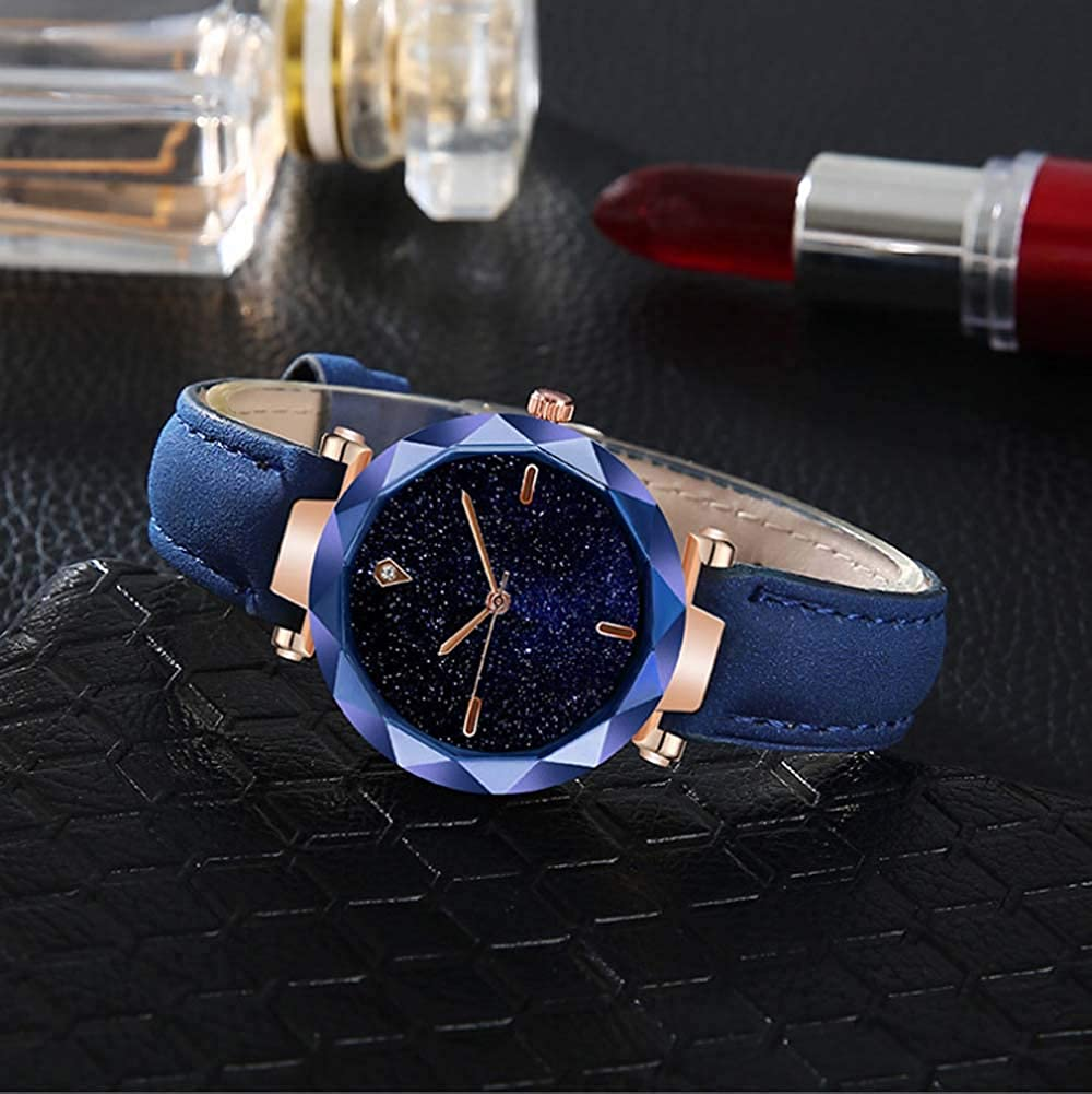 Amazon.com: Yunanwa Relojes Mujer Women Watches Rose Gold Romantic Starry Sky Dress Wrist Watch Crystal Rhinestone Ladies Clock Montre Femme Leather Brand ...