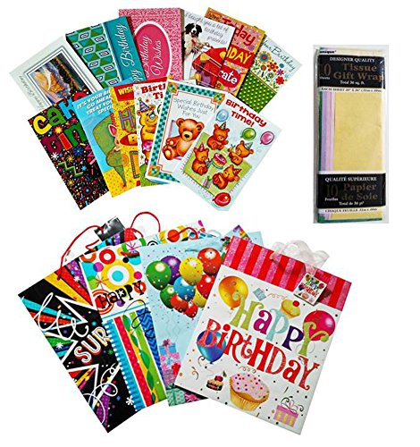 Happy Birthday Deluxe Gift Bag Bundle (Assorted Designs): 4 Medium Size Bags, Tissue (10 sheets), and 12 Birthday Cards