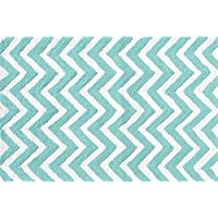 The Rug Market 25606B Handmade Rugs, Chevron Teal, Multicolor