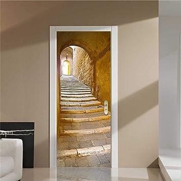 XXXCH Escalera De Piedra De 95X215Cm. Puerta De Madera Diy Papel Autoadhesivo Puerta Mural Etiqueta Art Decals Papel Tapiz De La Foto Para El Dormitorio Calcomanía De La Puerta De La Casa: