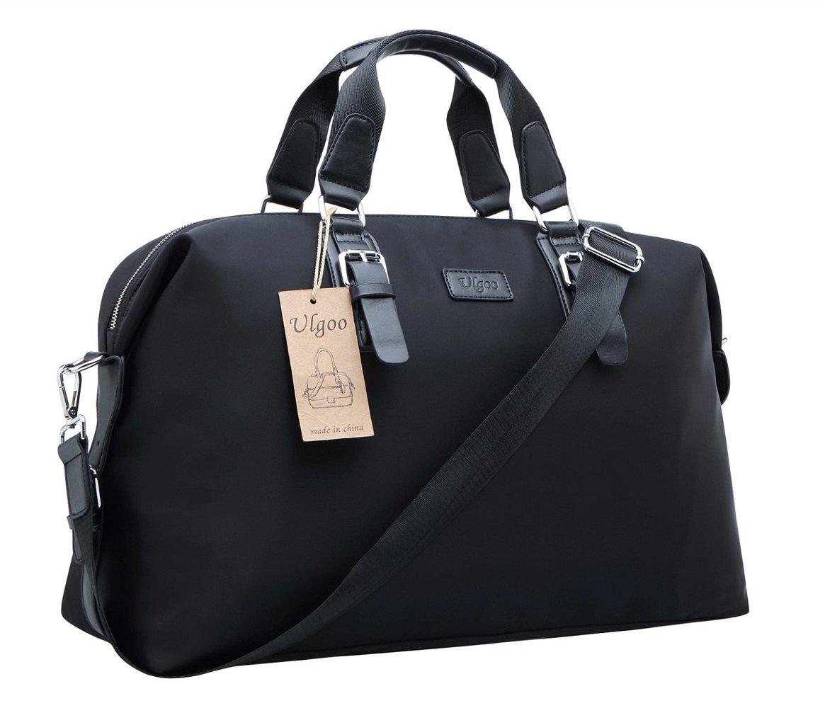 Ulgoo Travel Duffel Tote Bag Waterproof Weekend Overnight Gym Totes in Trolley Handle (Black)