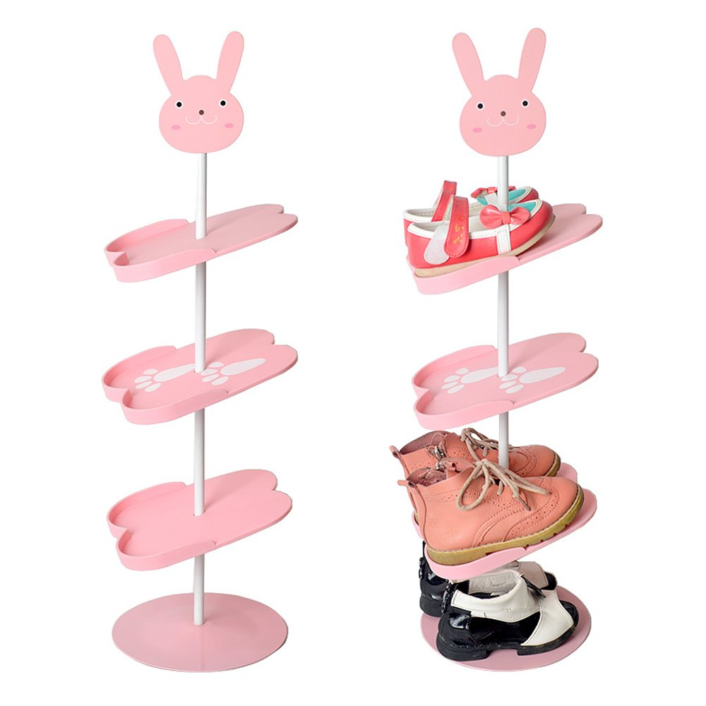 YOUDirect Shoes Rack - Multilayer Stand Kid's Shoes Rack Space Saving Children Shoes Shelf Portable Boots Storage Organizer Shoes Holder for Children (Pink Rabbit)