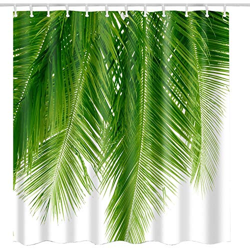 BROSHAN Green Leaf Shower Curtain Fabric, Summer Tropical Palm Leaves Plant Polyester Shower Curtain Nature with Hooks for Hawaiian Bathroom Decor Set,72 x 72 Inch