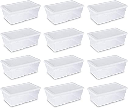 Amazon Com 12 Boxes Set Sterilite 6 Quart Storage Tote Shoe Box Containers Clear Closet Tub
