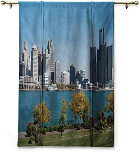 Detroit Blackout Curtain Roman Curtain Home Fashion Tie Up Curtain Decor Curtain Curtain Tie Up Shade – W48 x L64 Blue Green Silver
