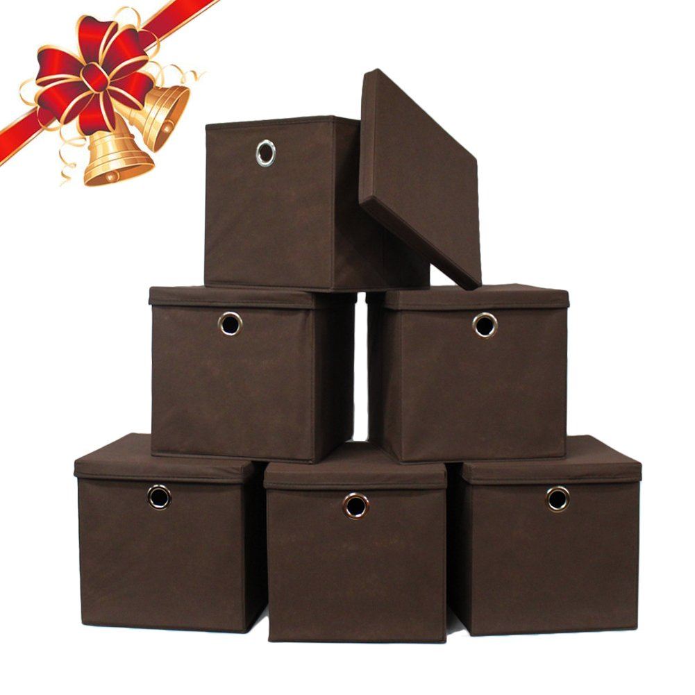 pezin hulin 6 pack foldable storage cubes with lid and metal eyelet handle ebay. Black Bedroom Furniture Sets. Home Design Ideas