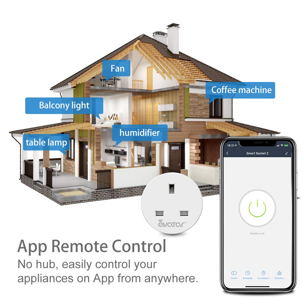 WiFi Smart Plug Alexa Plugs Socket Works with Alexa//Google Home//IFTTT by Avatar Controls Voice /& Remote Controlled Timer Energy Monitoring No Hub Required 2 Pack