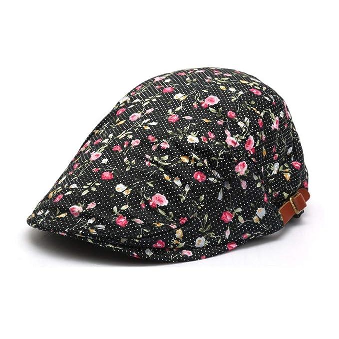 HaiDean Gorras Gorra Plana Damas con Florales Motivos Moda Vintage Modernas Casual Elegante Boina Gorras Gorras (Color : Negro, Size : One Size): Amazon.es: ...
