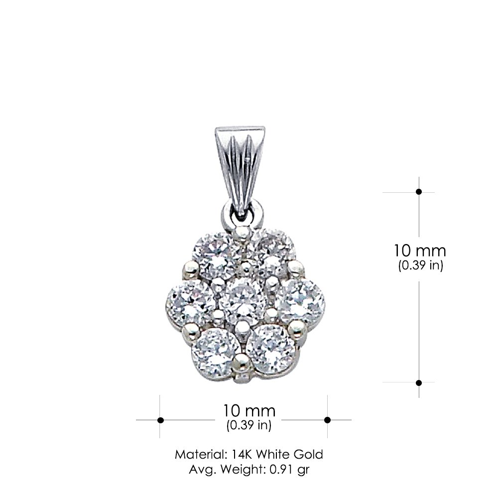14K Yellow Gold Flower Cluster Cubic Zirconia CZ Charm Pendant For Necklace or Chain