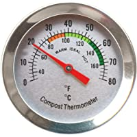 Compost Thermometer - Stainless Steel Dial Thermometer for Home and Backyard Composting - 50mm Diameter C&F Dial, 295mm Temperature Probe
