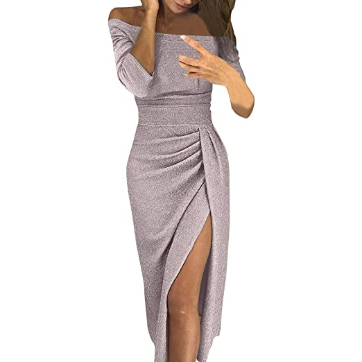 60e96db0a58a Balakie Trendy Womens Off Shoulder High Side Slit Bodycon Solid Maxi Dresses (Beige