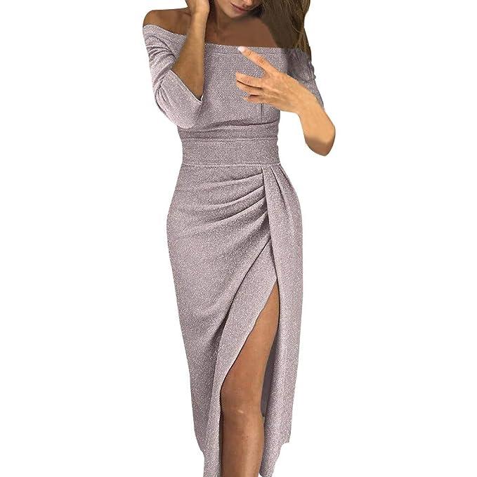 KOLY Donna Collare Obliquo Vestiti Invernali Pullover Abito Manica Lunga  Mini Dress Casuale Vestito A Maglia Maglione Vestito Aderente con Spalle  Scoperte ... 2796218b9f6