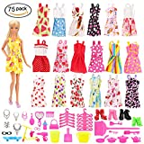 Miunana 75 Pcs Barbie Doll Clothes Set EU CE-EN71 Certified Include 15 Pack Barbie Clothes Party Grown Outfits And 60 Pcs Different Barbie Doll Accessories for 11.5 Inch Dolls
