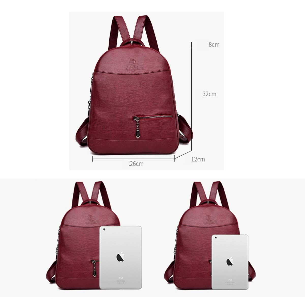 Black//Brown//Purple//Red PU Leather for Women /& Men Stylish and Practical ZHICHUANG Girls Multipurpose Backpack for Daily Travel//Outdoor//Travel//School//Work//Fashion//Leisure
