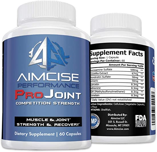 Aimcise Performance ProJoint Supplement with Glucosamine and Turmeric Powerful Pain Muscle and Joint Recovery, Promotes Speed, Helps Back Pain Knees Hands Inflammatory – 60 Day Supply